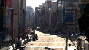 Une rue de Tokyo sans vie...
